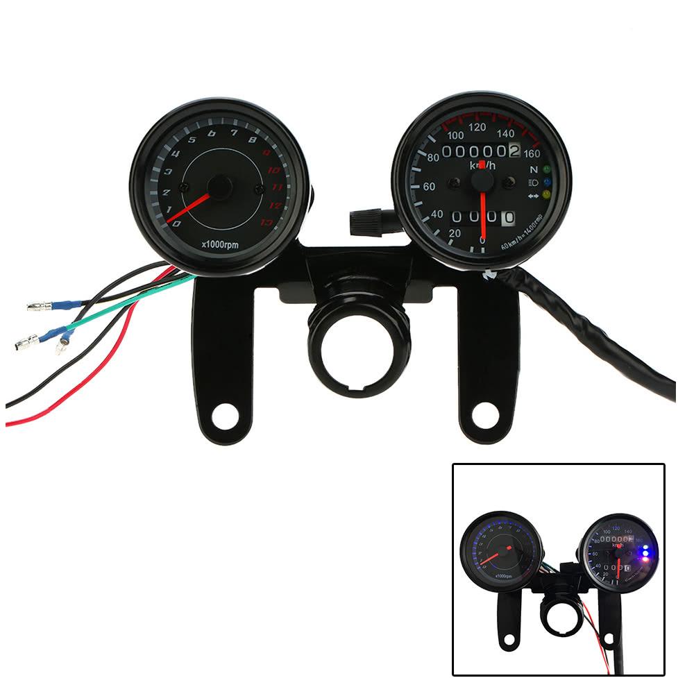 12V Motorcycle 13000 RPM Tachometer Km/h Sdometer Dual Odometer Gauge on