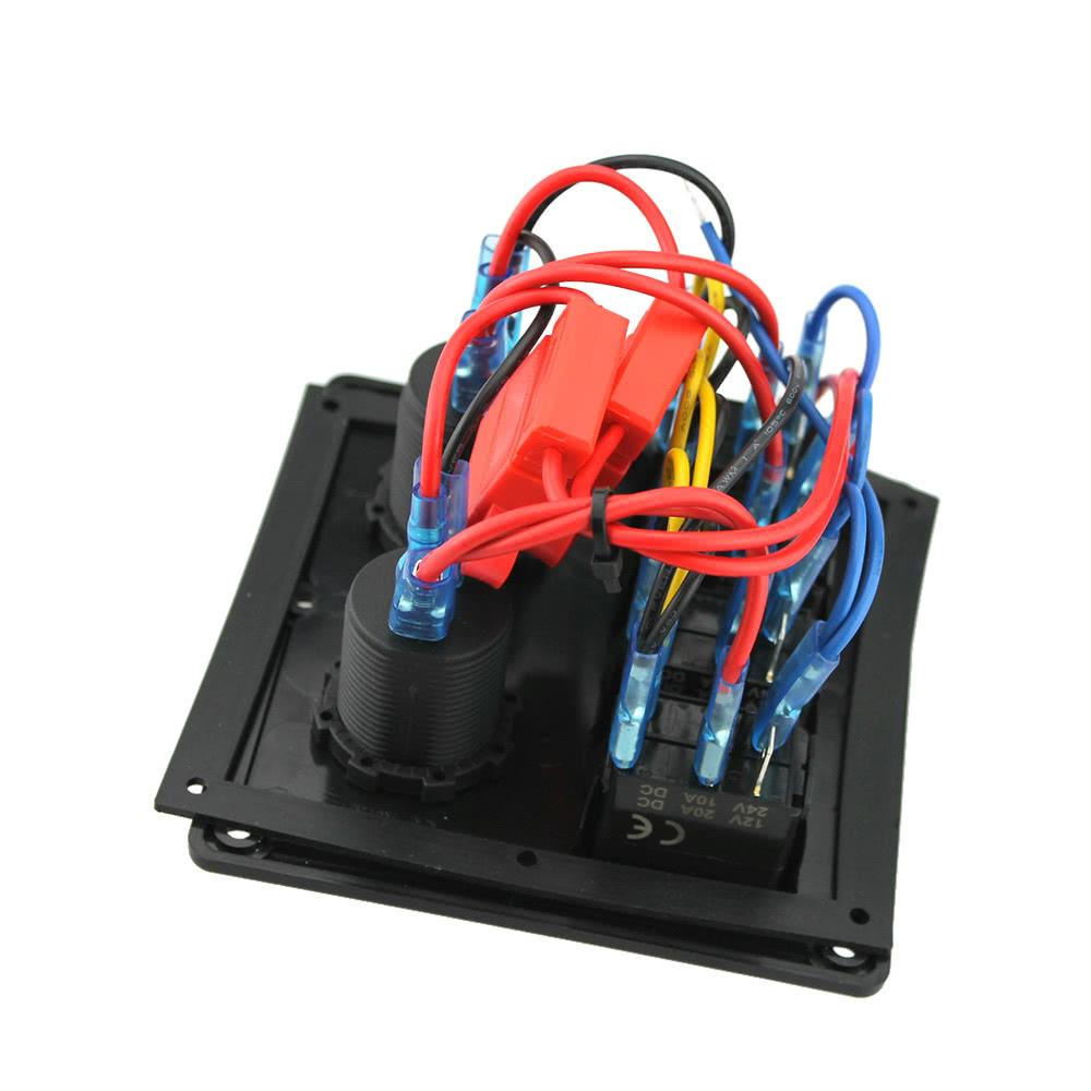 12v 24v Waterproof 4 Gang Toggle Switch Panel Led Rocker Wiring Diagram With Cigarette Lighter Socket Dual Usb Port Voltmeter For Car Boat Marine Motorcycle