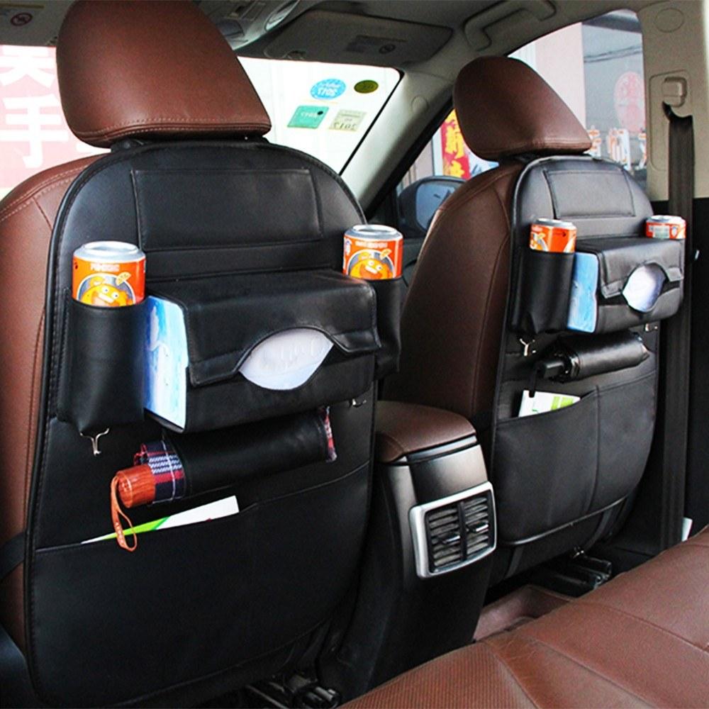 Car Seat Back Storage Bag Organizer Travel Box Pocket PU Leather Auto Accessoires Sales Online Black