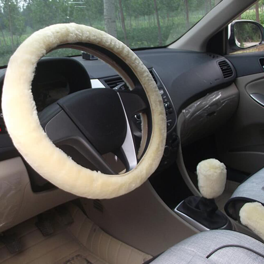 3pcs car styling steering wheel hand brake change lever winter wool felt soft comfortable auto. Black Bedroom Furniture Sets. Home Design Ideas