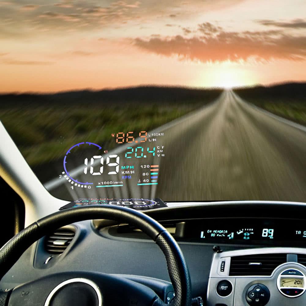 kkmoon indicateur 5 5 grand cran voiture auto hud levant la t te affichage km h mph alarme. Black Bedroom Furniture Sets. Home Design Ideas