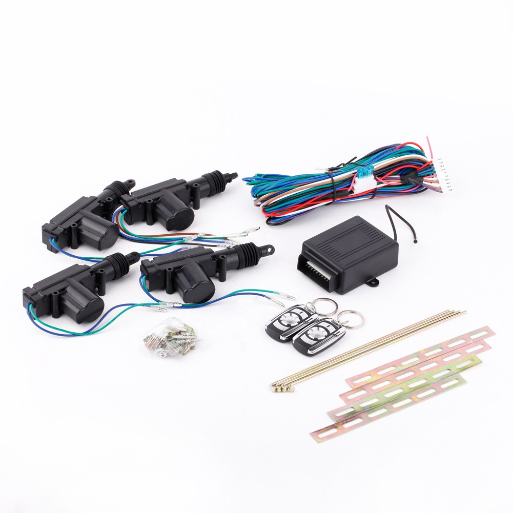 4 Door 12v Car Remote Control Central Keyless Entry Lock Kit 2 Wire Actuator Wiring 3 1 Unit Rod Clamp Loop Of Installing Wires Pack Screws And Mounting Brackets