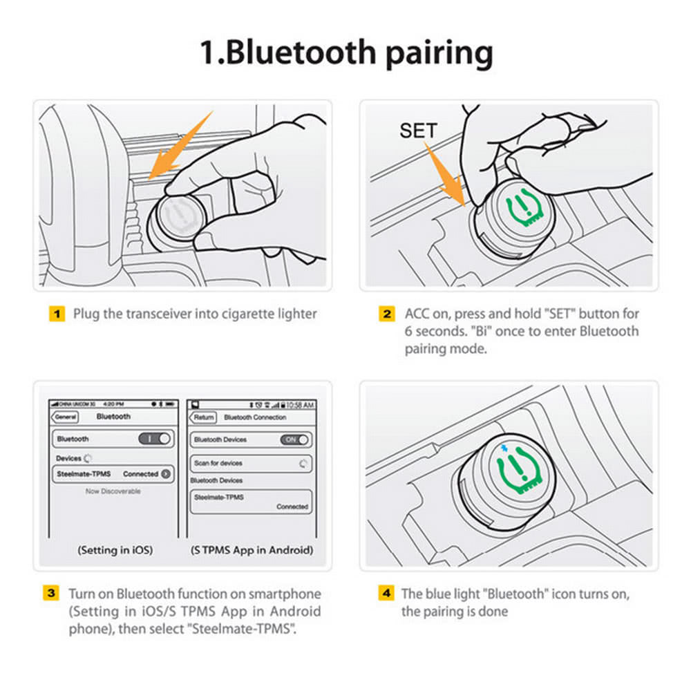 steelmate tpms-85 wireless bluetooth tire pressure monitoring, Wiring diagram