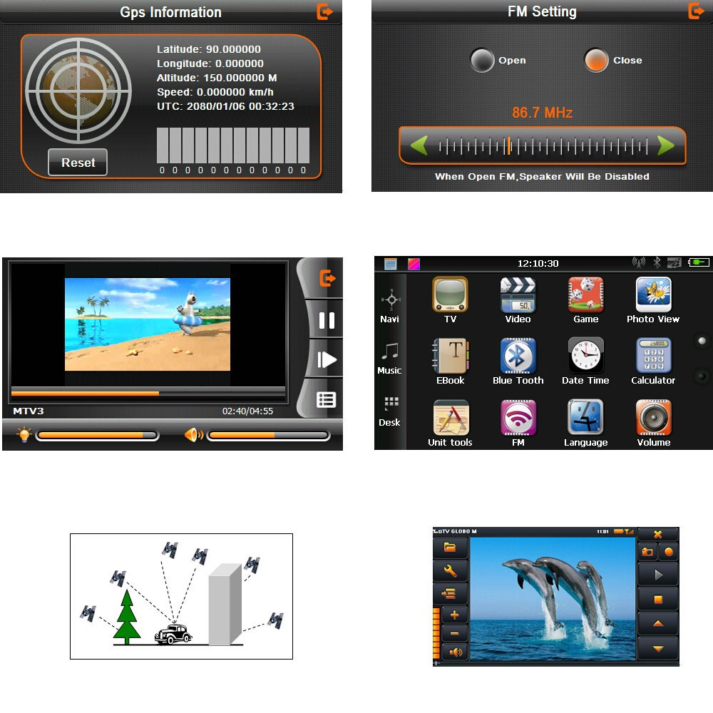 7 tactile hd cran portable voiture gps navigation 128mo ram 4 gb fm vid o play car or. Black Bedroom Furniture Sets. Home Design Ideas