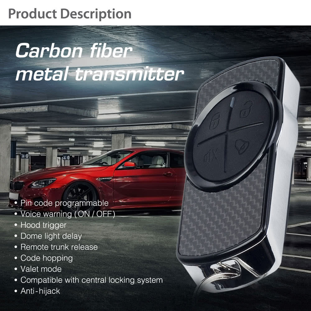 steelmate 838n 1 way car alarm system match central locking system & window  closer anti-hijacking remote trunk release with carbon fiber transmitter  sales