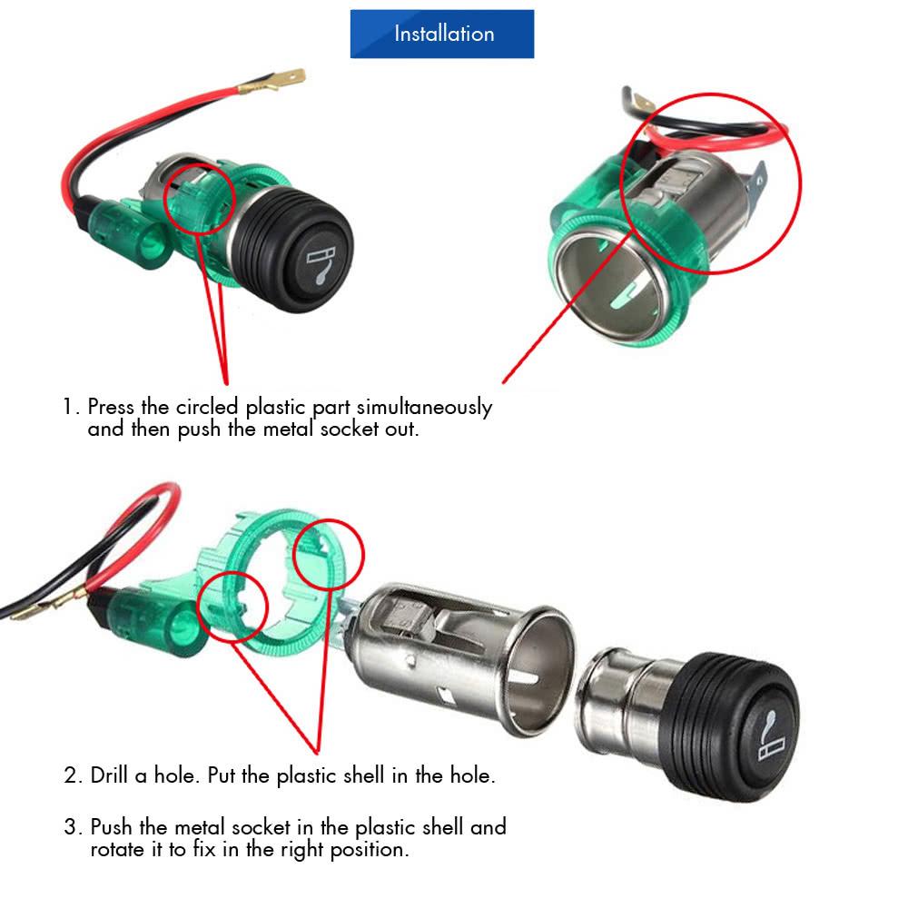 12v Illuminated Car Cigarette Cigar Lighter Socket Plug Replacement Outlet Including Wiring Kit Sales Online Blue Tomtop