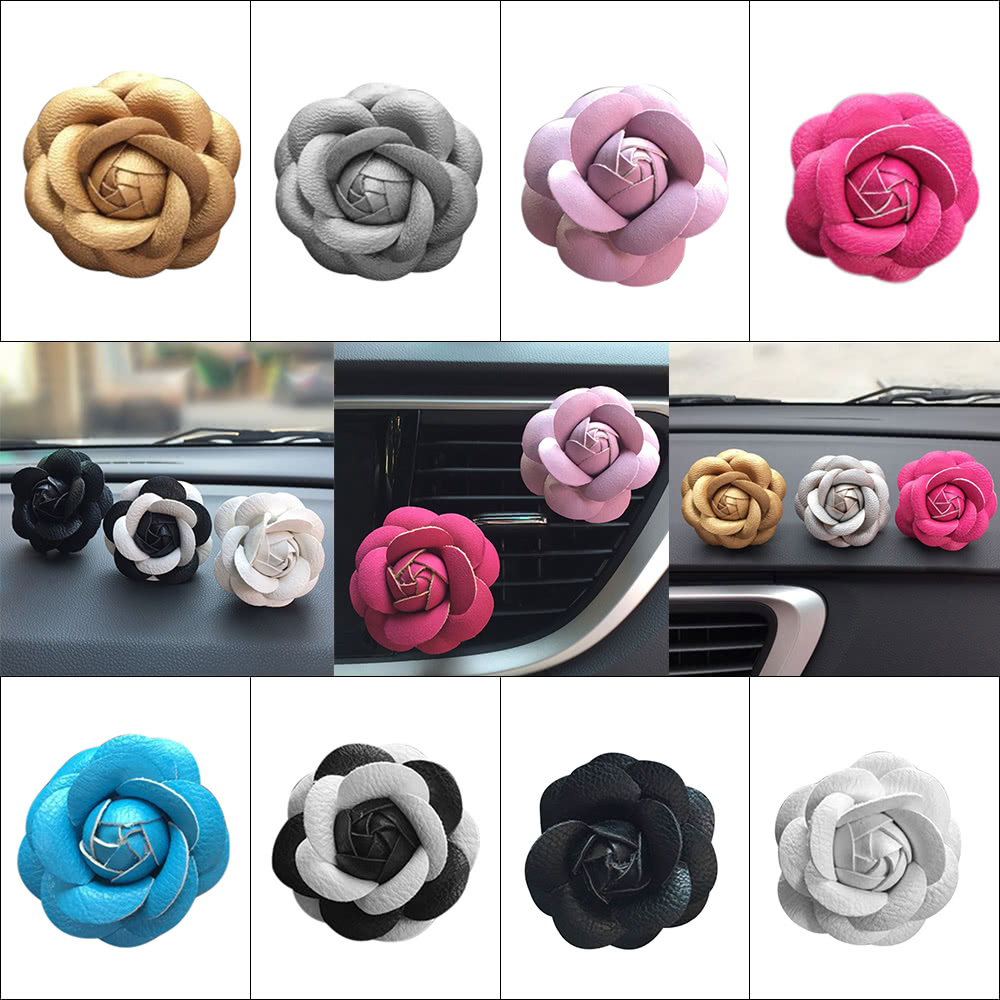 Car Use Perfume Seat Car Ornaments with Crystal Creative Charm Beautiful Camellia Flower Car Accessories Blue