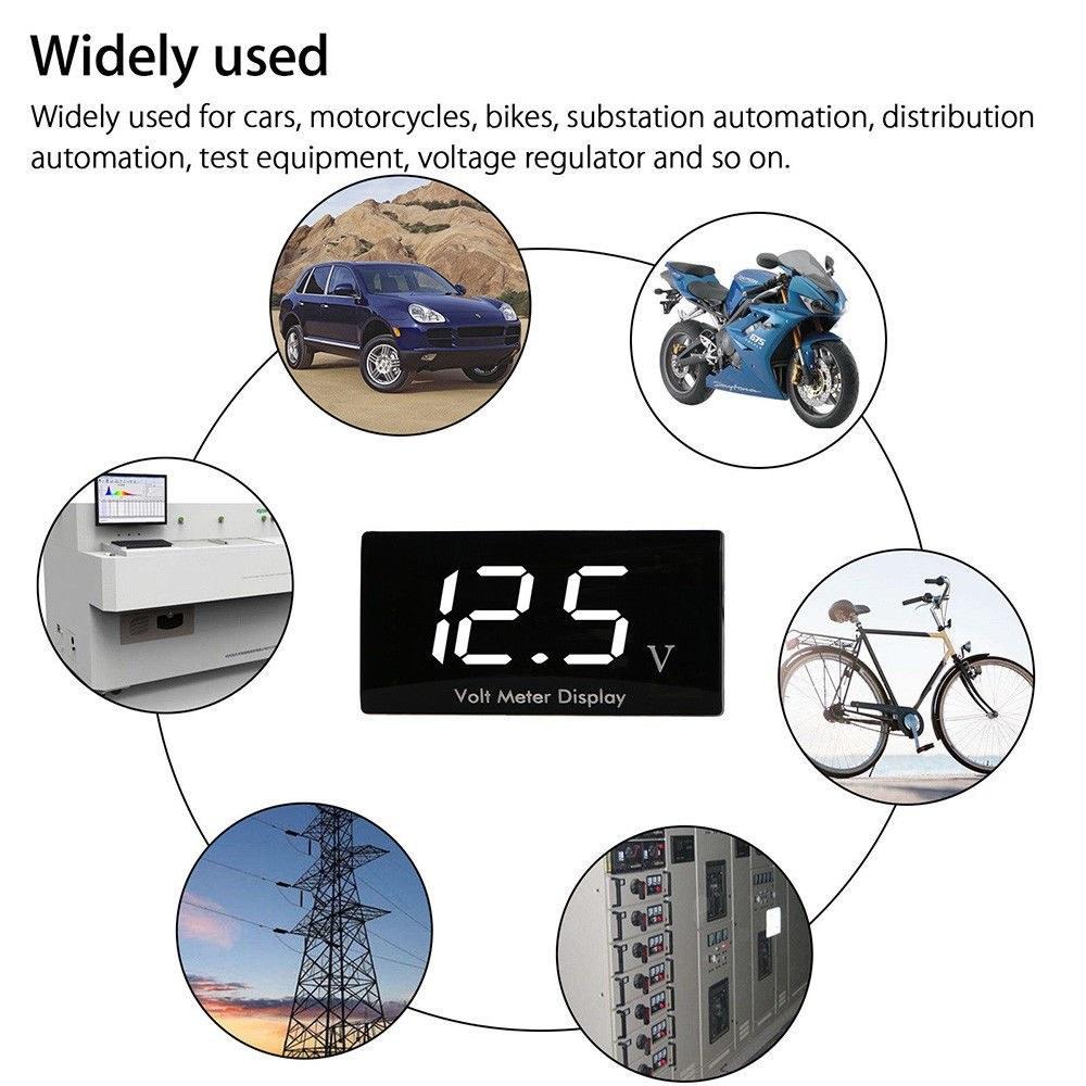 12v Digital Led Display Panel Meter Voltmeter Car Motorcycle Voltage Wiring Diagram Volt Gauge For Vehicle Automotive White