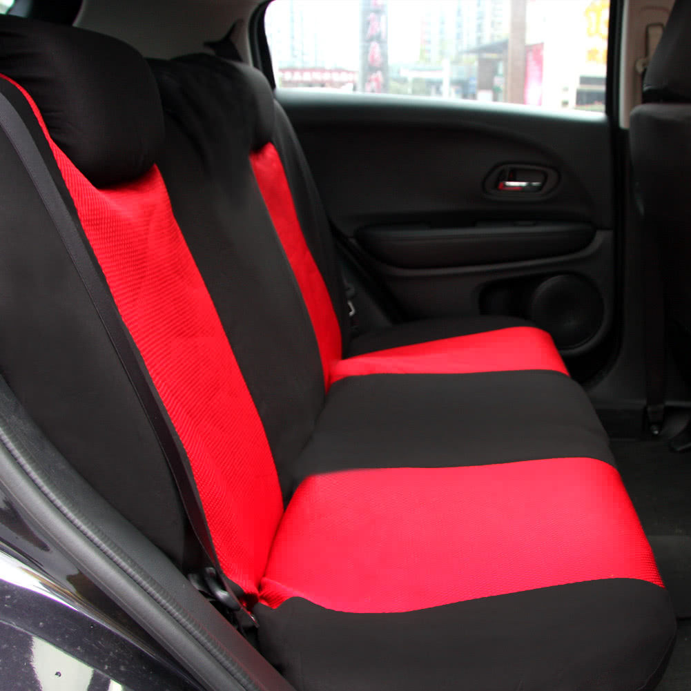 Universal Car Seat Cover Set 10Pcs Covers Front Back Headrest Mesh Black And Gray Red Sales Online