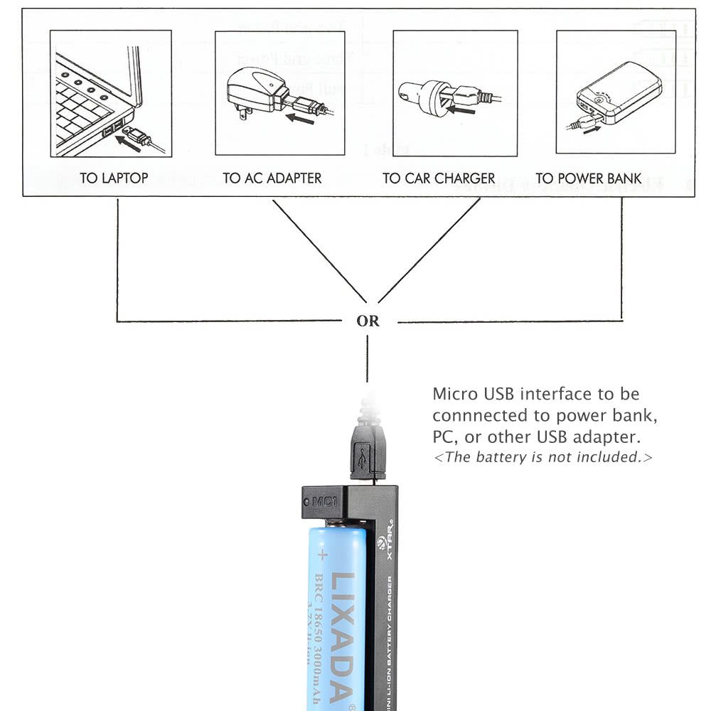 Xtar Mc1 Mini Portable Handy Travel Use 1 Channel Usb Charger For Diagram 10440 14500 14650 16340 17500 17670 18350 1849018500 18650 18700 22650 25500 26650