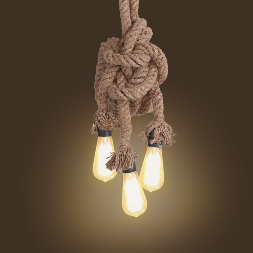 Tomshine Industrial Vintage Retro 3 Heads Hemp Rope Ceiling Lamp Sales  Online E27 0.5m   Tomtop