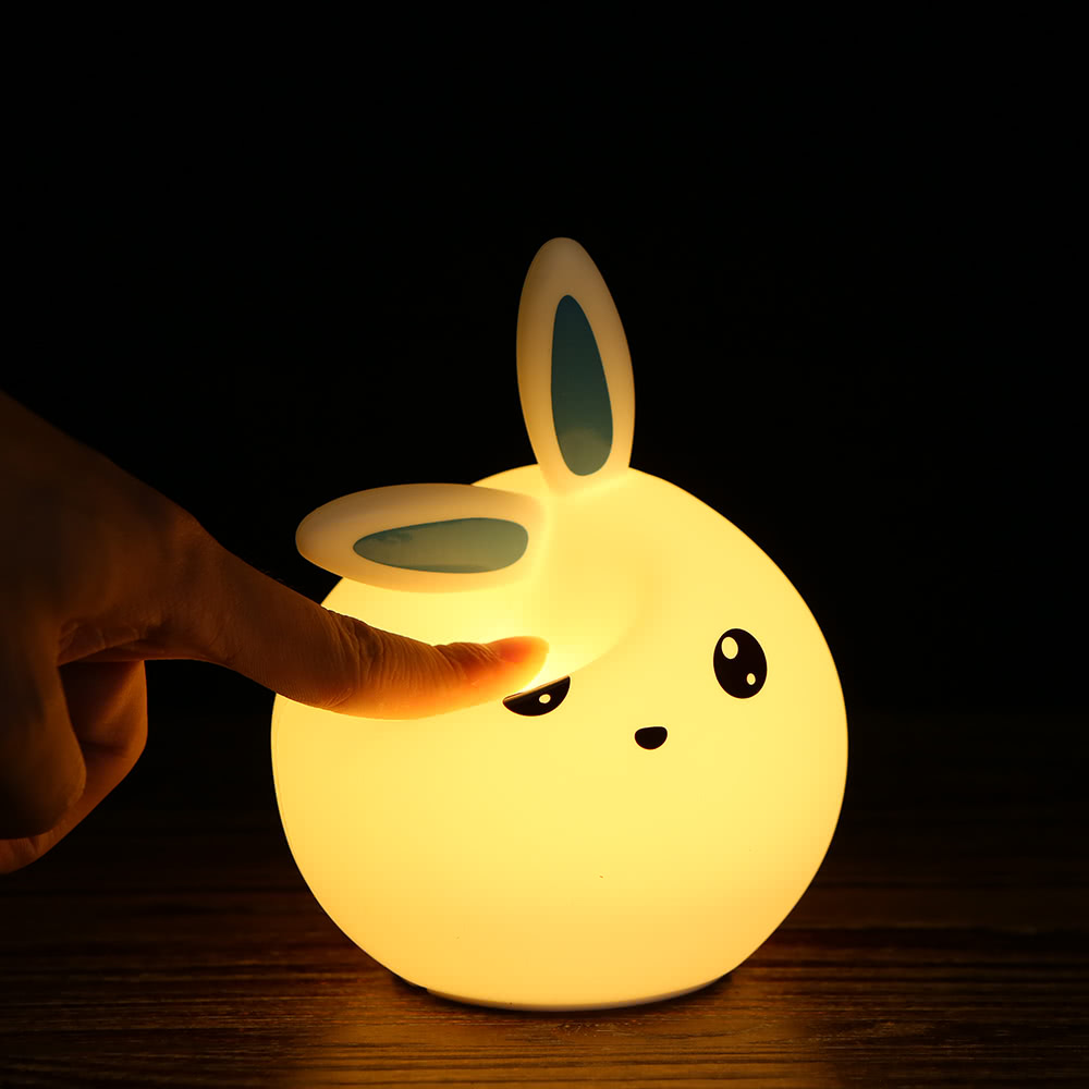 Colorful Rabbit Silicone Lamp Rechargeable LED Light Cute Night Lamps  Bedroom Lights For Children Kids Nightlight Taking Care Of Baby Bedlight  Touch Sensor ...
