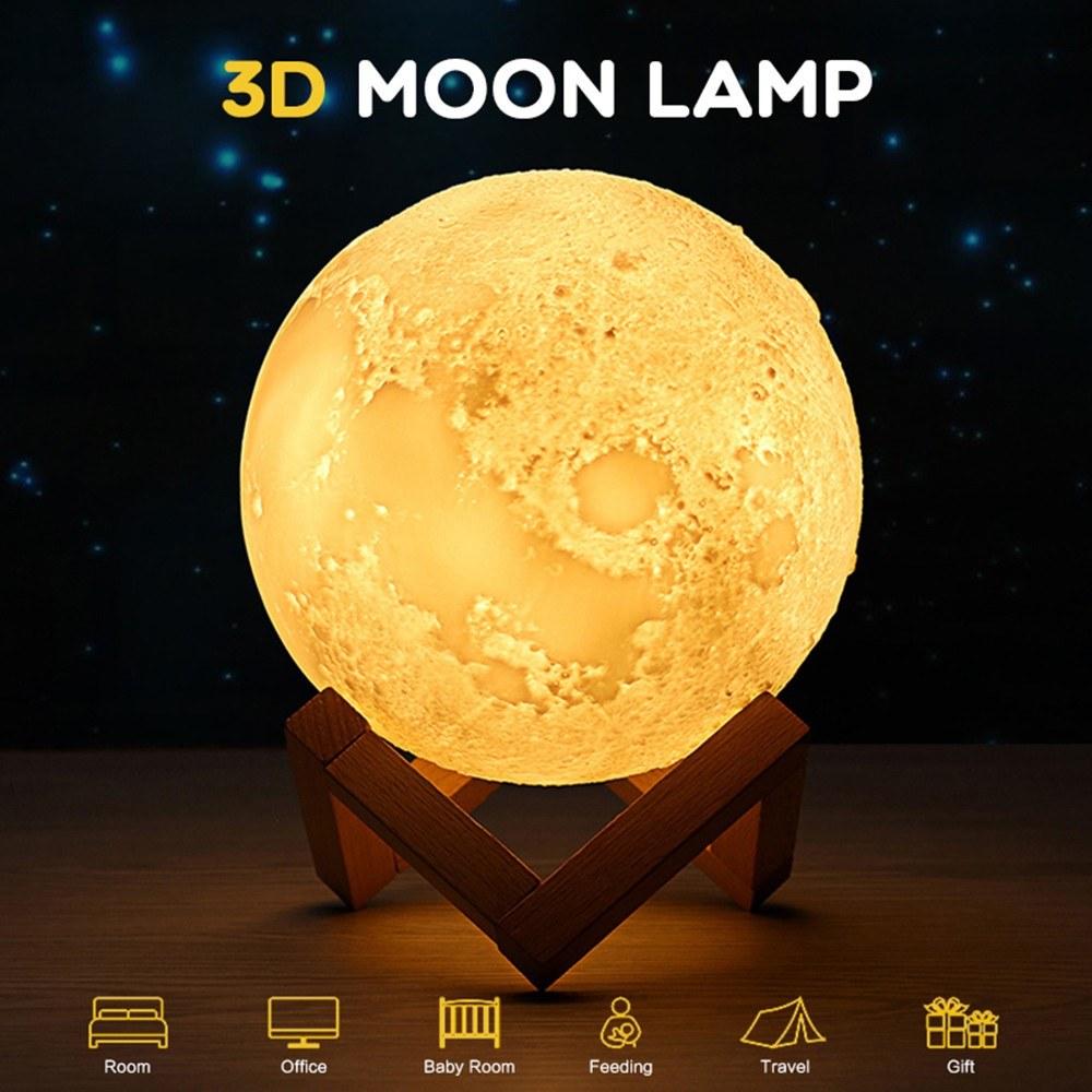 16 Colors 3D Printing LED Moon Light Lunar Night Lamp(12CM) Sales ...