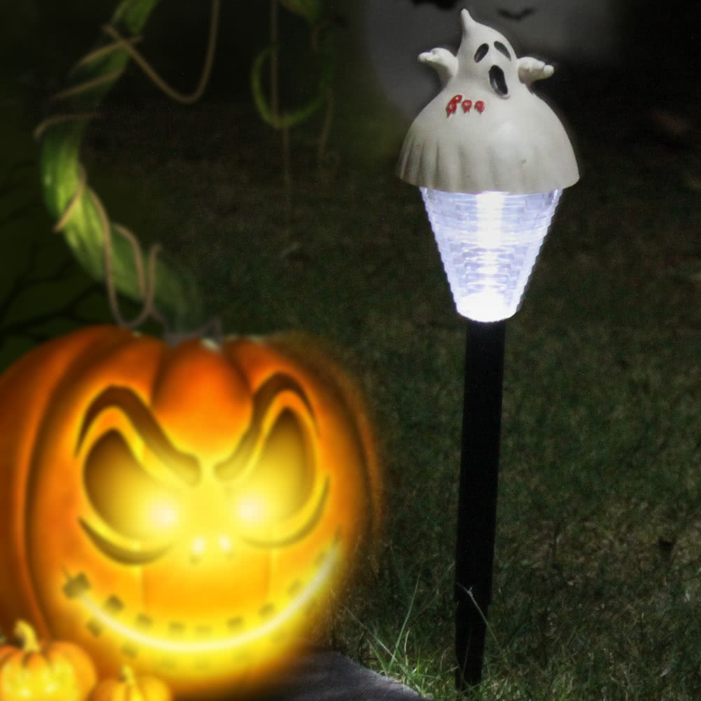 2 Packed Halloween Solar Lawn Light Pumpkin Ghost Outdoor Landscape Decorative Festive Lamp For Patio Garden Yard Path Sales Online 2 Tomtop