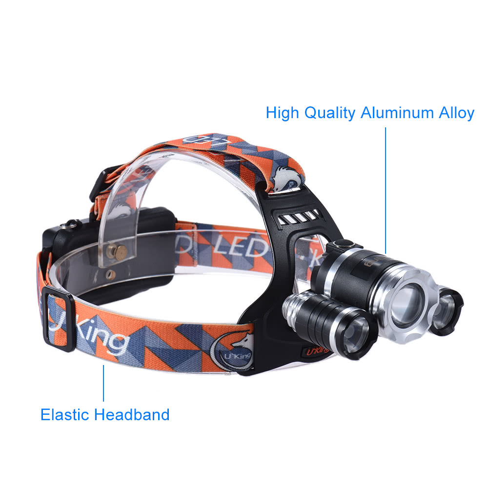 U`King ZQ-G808 Ultra Bright Outdoor LED Headlamp Flashlight Headlight  Portable Zoomable Adjustable Focus 3 * XML-T6 4-Mode 3600LM High Power for