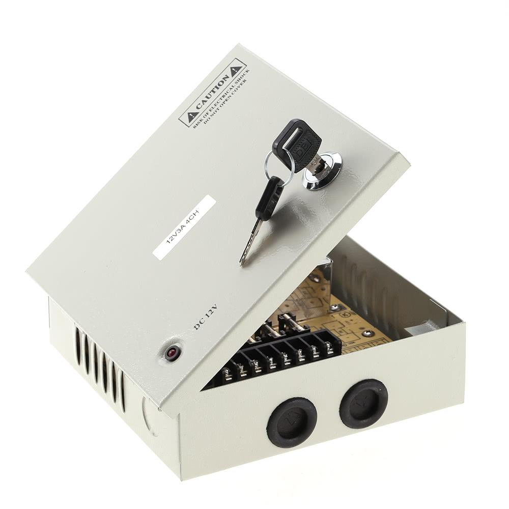 4CH AC100-240V To DC12V 3A 36W LED Driver Power Supply Box Adapter  Transformer for CCTV Security Camera LED Strip String Light