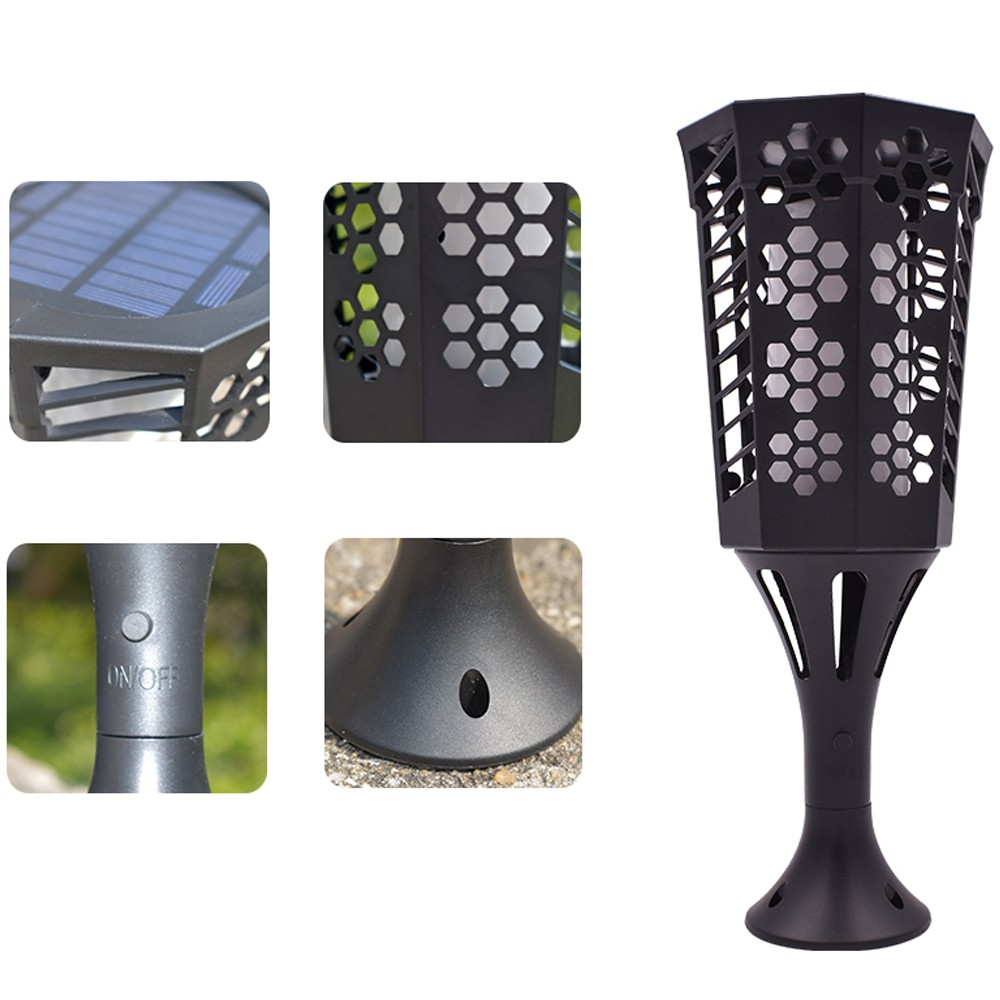 96pcs ext rieur imperm able l 39 eau led flamme flamme solaire clairage de la pelouse. Black Bedroom Furniture Sets. Home Design Ideas