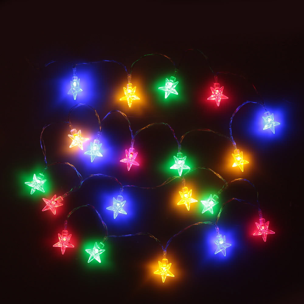lixada led guirlande lumineuse 2 1 m 20 leds multi couleur lampe guirlande lumineuse pour no l. Black Bedroom Furniture Sets. Home Design Ideas