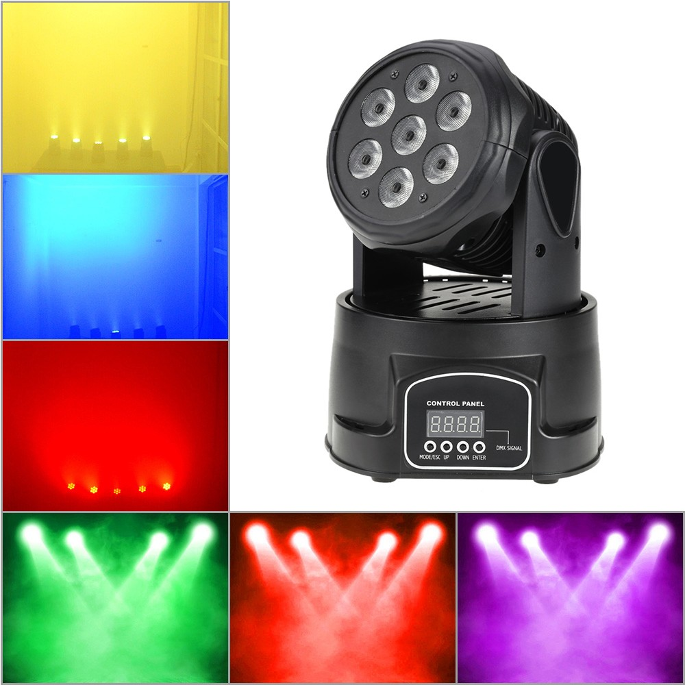 70W 7 LEDs RGBW 4 in 1 LED Stage Effect Wash Lightig Lighting Fixture DMX512 9/14 Channel for DJ Show Club Disco Stage Party