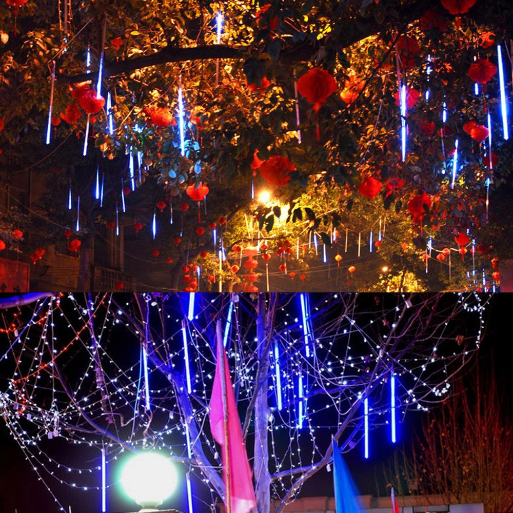 30cm 8 tubes falling snow strip fairy meteor shower rain led light string sales online blue eu tomtop