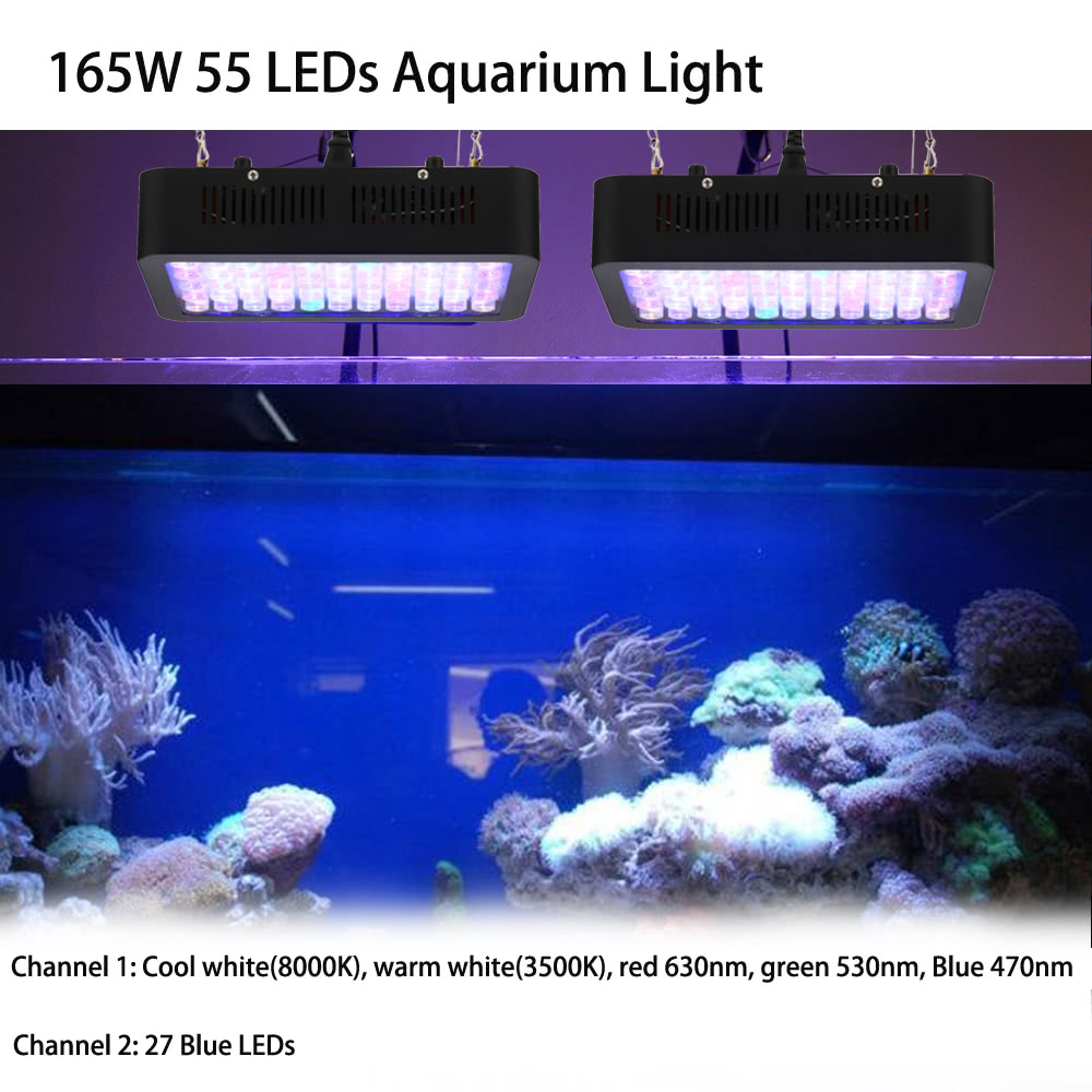 165w 55 leds aquarium light dimmable full spectrum for for Fish tank lighting