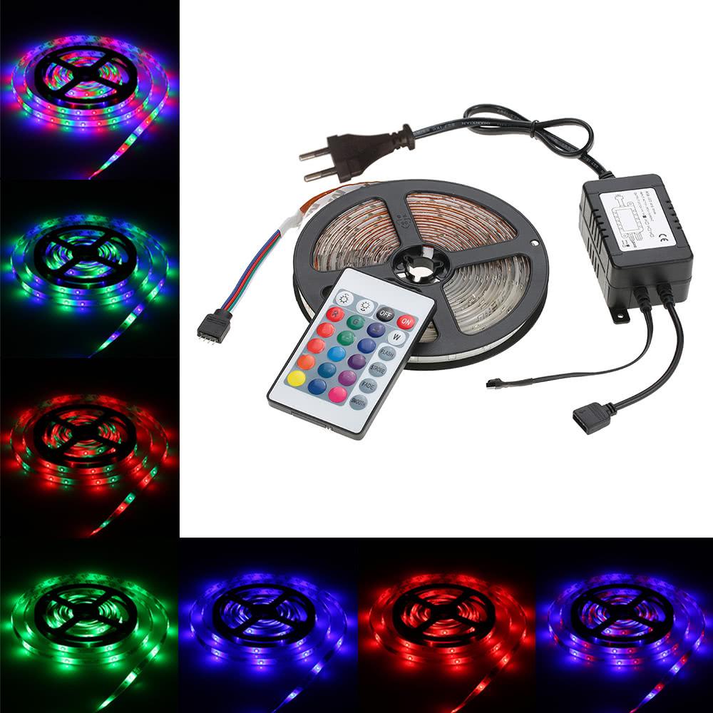 5M 270 LED 2835 SMDリモートコントロールRGBカラーLEDストリップライト、24キーIRリモコン+電源アダプタDC12V