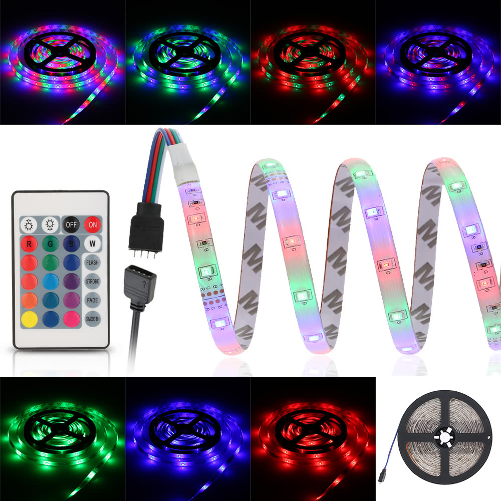 5m 270 Leds 2835 Smd Remote Control Rgb Color Led Strip Light With 24 Key Ir Power Adapter Dc12v Sales Online Eu Tomtop