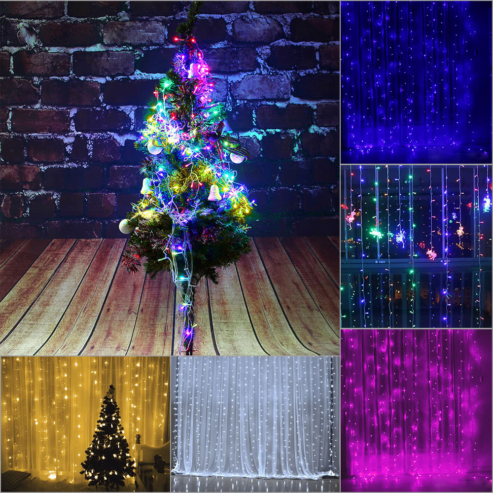 110v 220v 3 2m 224pcs colorful curtain led icicle string lights