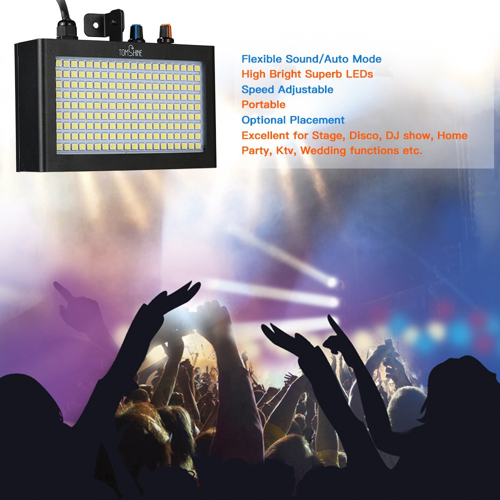 Tomshine 180 Leds Strobe Flash Light Lamp Portable Auto Running Adjustable Sound Control Activated Speed For Stage Disco Dj Show Home Party Ktv Wedding