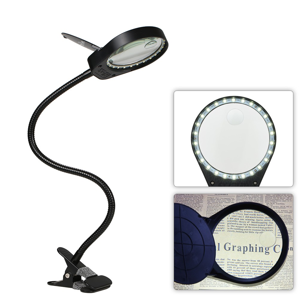 Tomshine led 3x10x magnifier glass with clamp clip table sales 1 this product is non waterproofplease use it carefully 2 the hanging hook and hanging nail are not provided package list 1 table lamp 1 adapter geotapseo Gallery