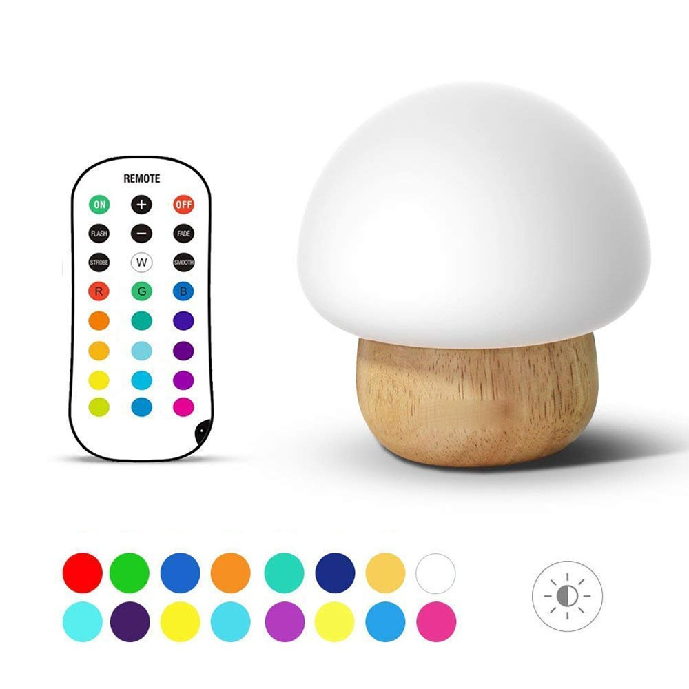 Wooden Base Mushroom shape Light Sleeping Lamp with Remote Control(USB Cable)