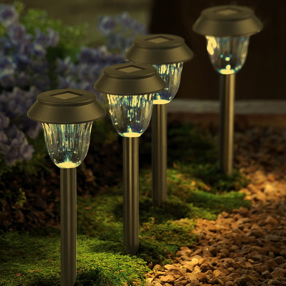2 Pieces Solar Powered Lamp Security Outdoor Wireless Ground Landscape Light Lawn Lamp Garden