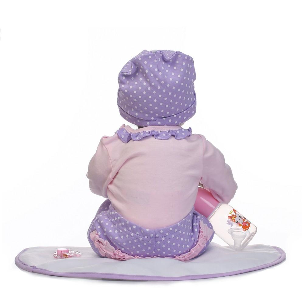 9695a12af Muñeca del bebé del silicio de 22inch renacida que sonríe la muchacha de la  muñeca del bebé con la ropa del pelo Boneca realista Regalos lindos del  juguete ...