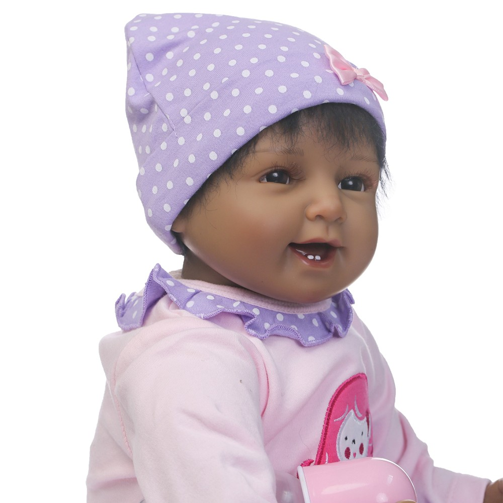 d53e67191 Muñeca del bebé del silicio de 22inch renacida que sonríe la muchacha de la  muñeca del bebé con la ropa del pelo Boneca realista Regalos lindos del  juguete