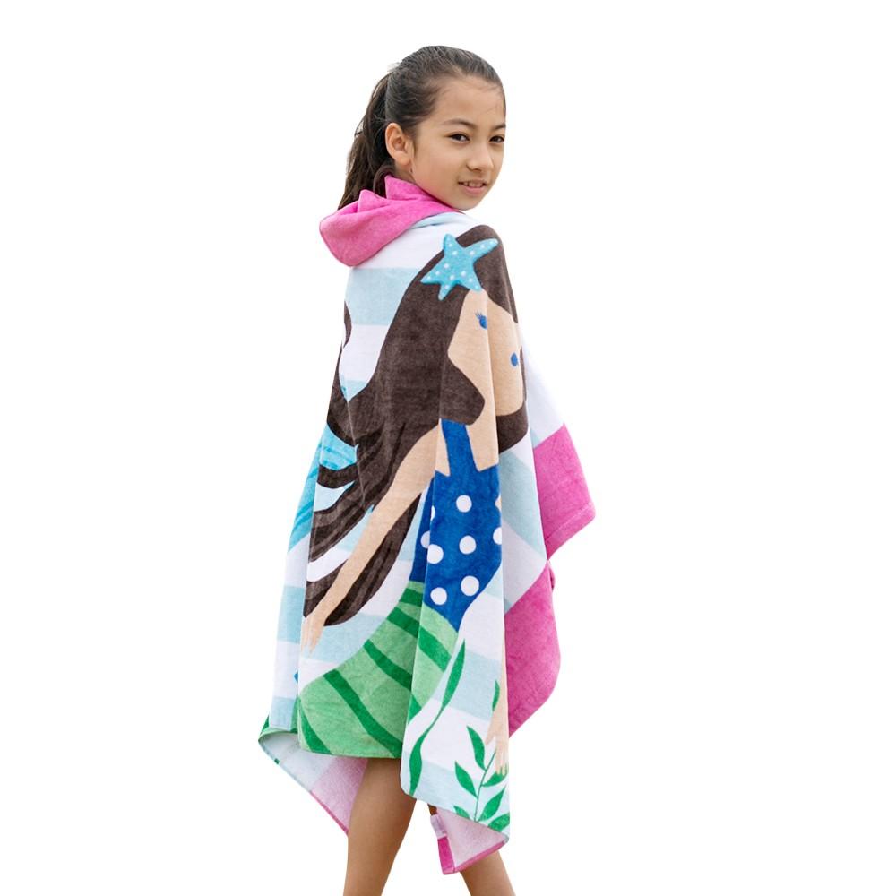 kids hooded beach towels. Kids Hooded Beach Towel Blanket Cotton Super Absorbent Cute Catoon Bath Swim Pool Cape Cloak Boy Girl Brown Hair Mermaid Towels E