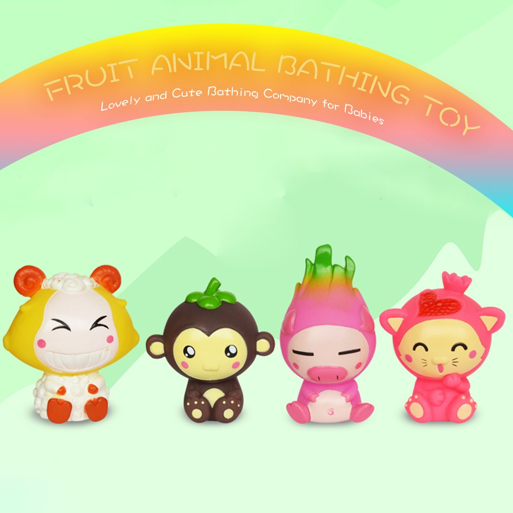Cute Baby Shower Toy Lovely Environmental-Friendly Fruit Animal Bath ...