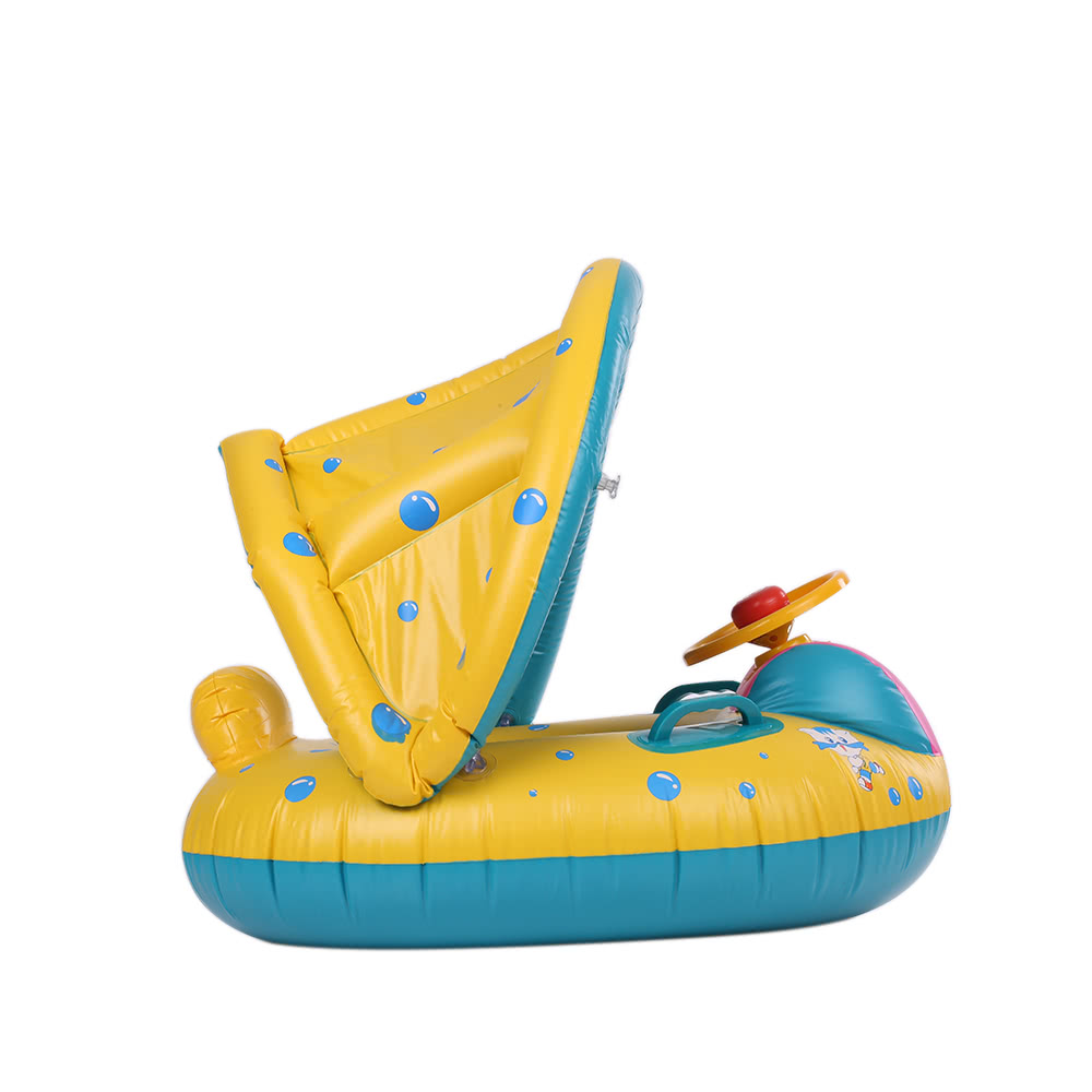 Inflatable Soft Baby Swimming Ring Pool Float Boat Rider with Detachable Sun Canopy Shade for Baby Toddler Kid Blue-Yellow Sales Online - Tomtop  sc 1 st  Tomtop.com : inflatable baby boat with canopy - afamca.org