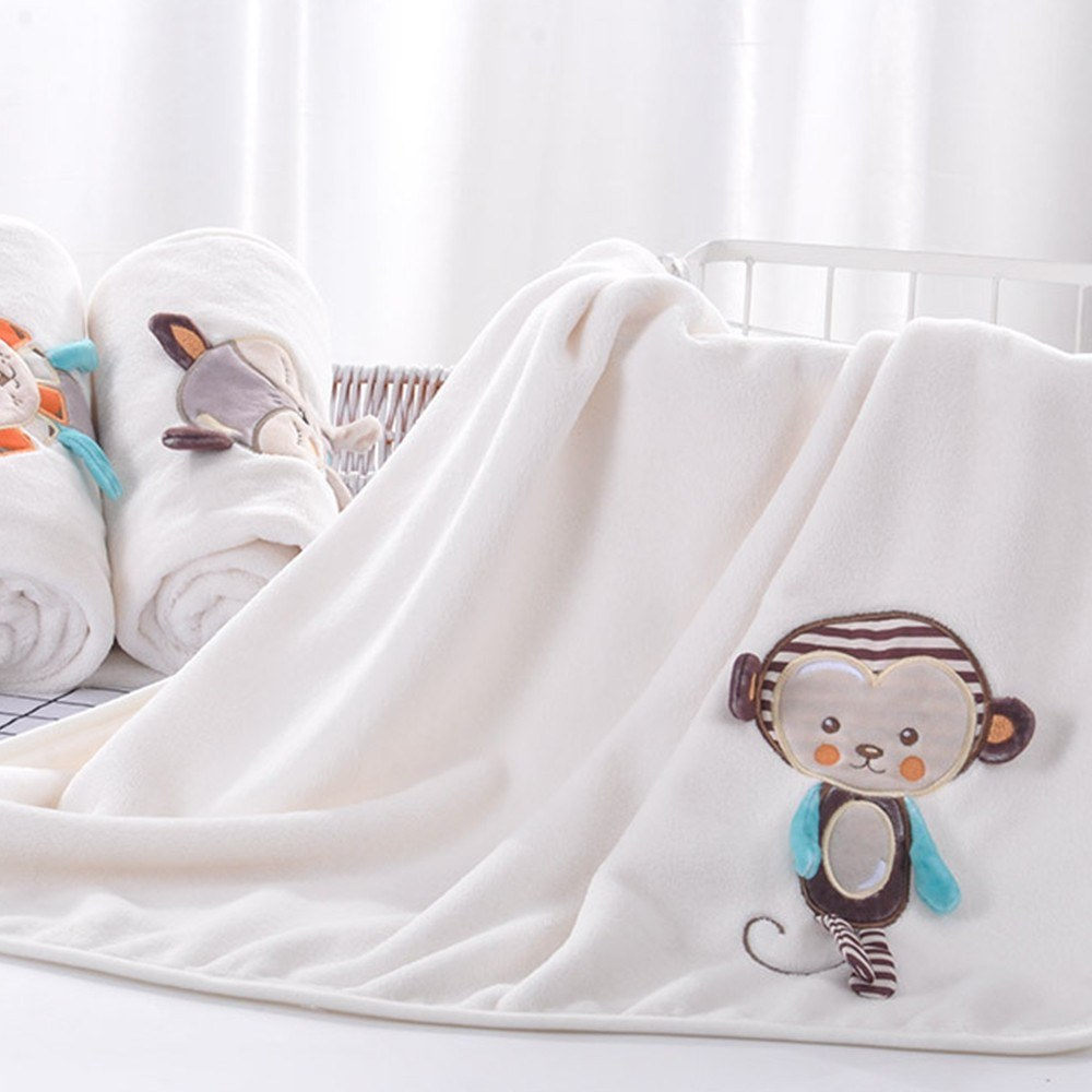 Baby Decke Weichen Flanell Swaddling Sticken Kinderwagen Auto Sofa