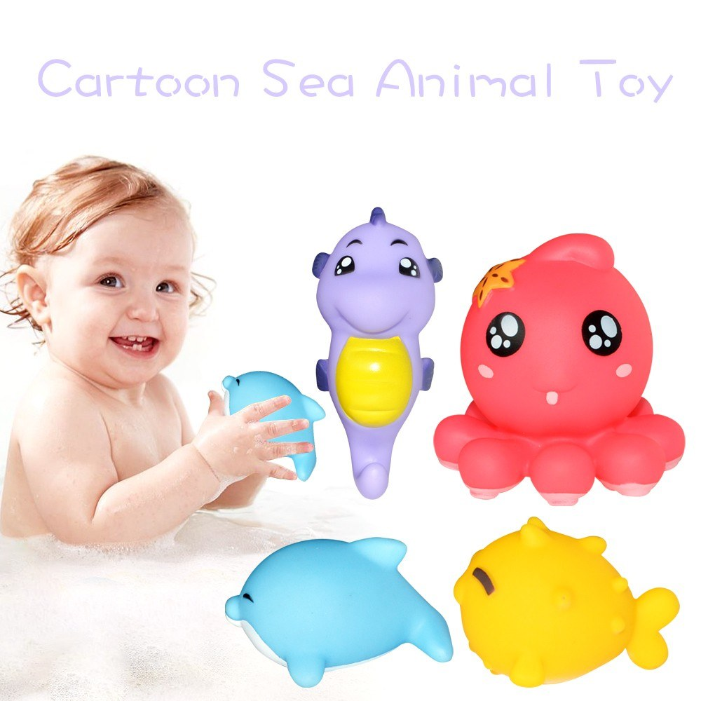 4Pcs Baby Shower Toy Sea Animal Bath Doll Environmental-Friendly PVC ...