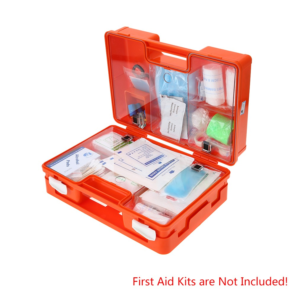 Carevas Lockable First Aid Medicine Storage Box Case Wall Mount Plastic  Family Emergency Kit Container with Handle & Compartmets