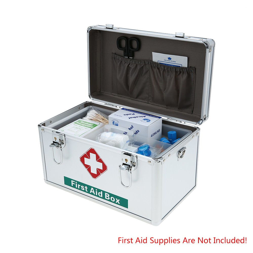 Aluminum Household Medical First Aid Storage Box Sales Online Sliver    Tomtop