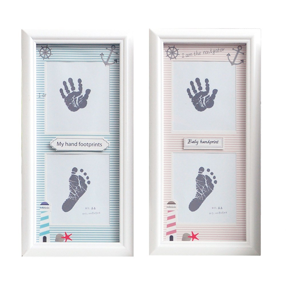 DIY Baby Handprint Footprint Picture Frame Kit Wooden Decorative ...