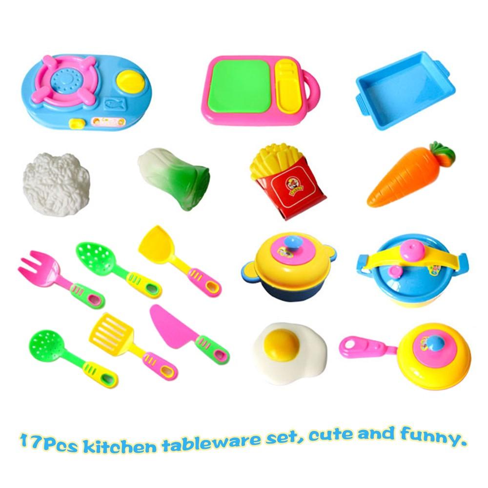 17Pcs Kids Pretend Kitchen Play Toy Set Simulated Kitchen Tableware ...