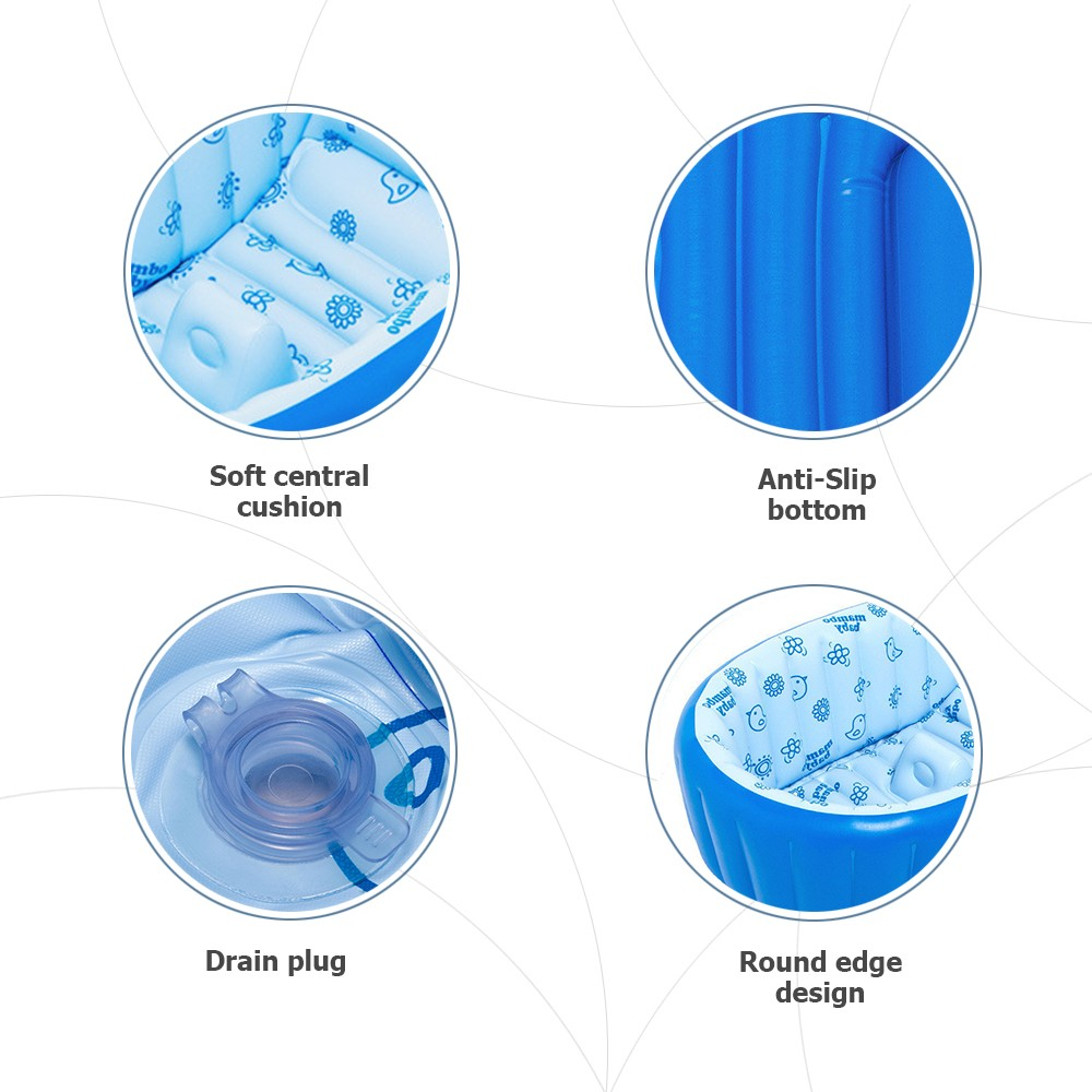 Inflatable Baby Bath Tub Swimming Pool Anti-Slip Safety with Central ...