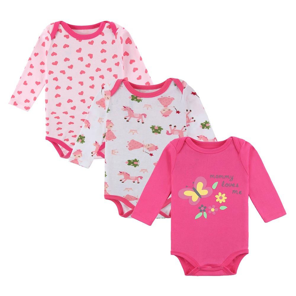 3pcs mamelucos del bebé Body Set 100% de algodón de manga larga para ...