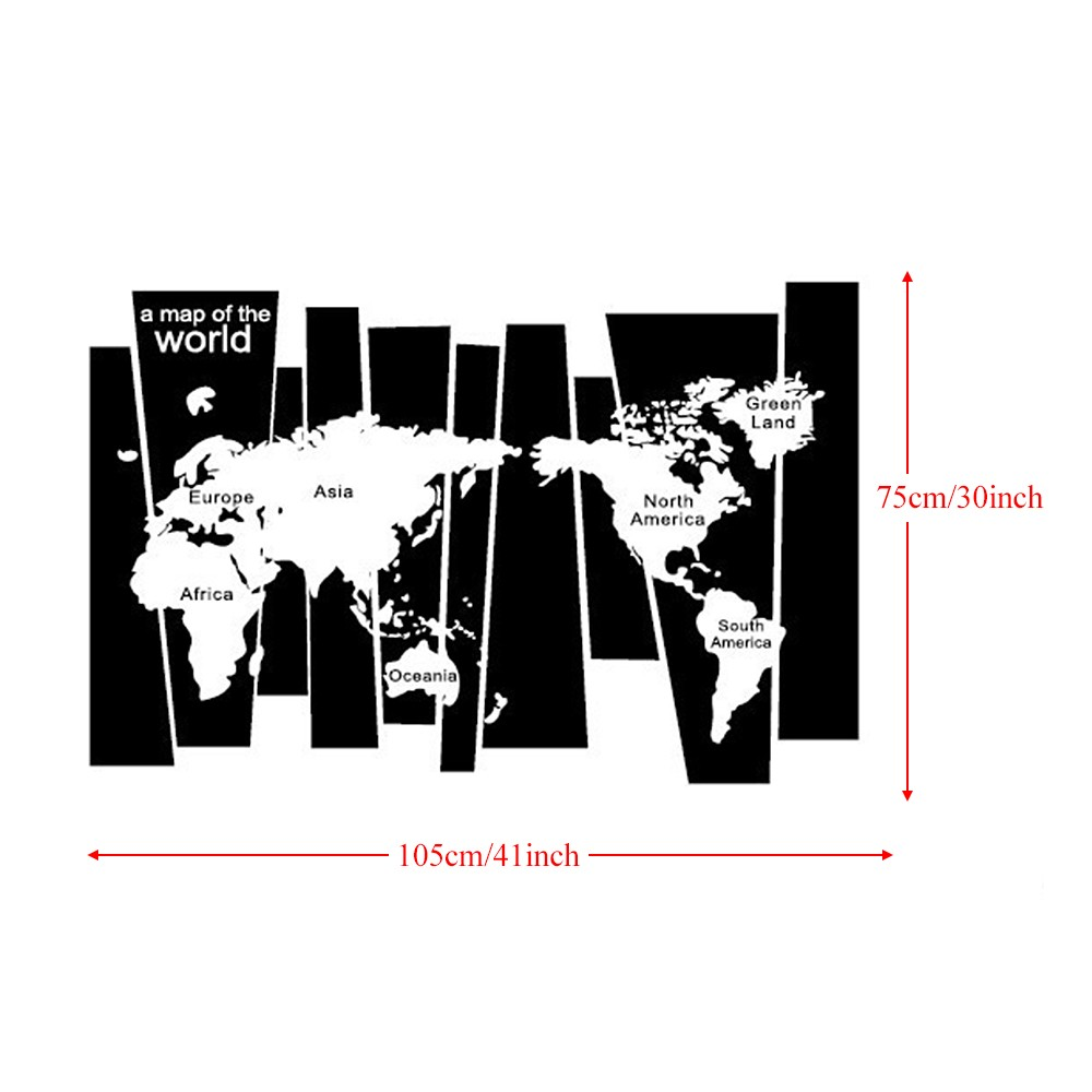 Black white world map wall sticker irregular map decal pvc mural black white world map wall sticker irregular map decal pvc mural art decor for bedroomliving roomhallwayoffice publicscrutiny Image collections