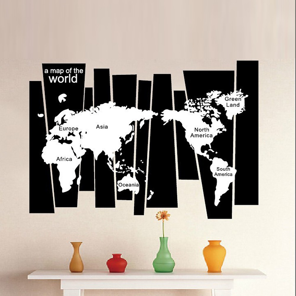 Black white world map wall sticker irregular map decal pvc mural black white world map wall sticker irregular map decal pvc mural art decor for bedroomliving roomhallwayoffice sales online tomtop gumiabroncs Images