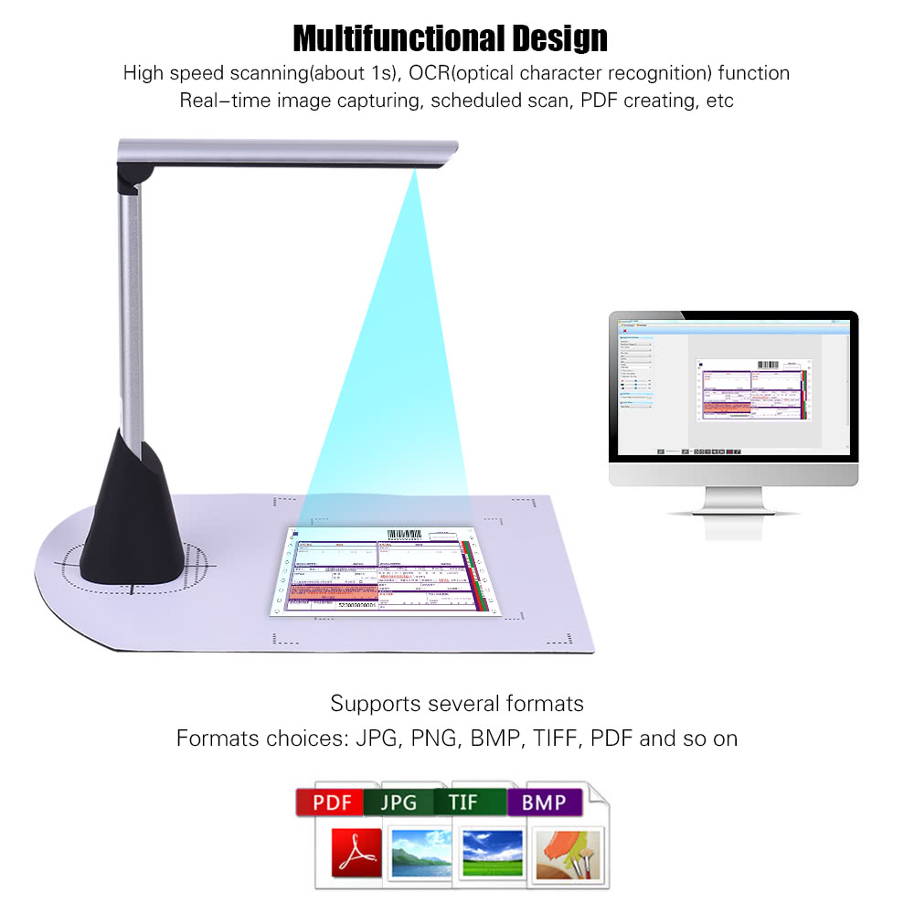 Portable High Speed USB Book Image Document Camera Scanner 5 Mega Pixel HD Definition Max A4 Scanning Size With OCR Function LED Light For Classroom