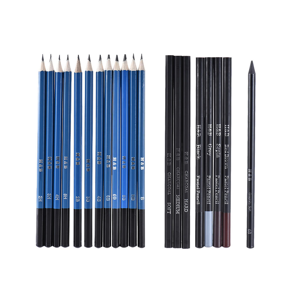 40pcs/ Set Professional Sketching Drawing Pencils Kit Including Sketch  Graphite Charcoal Pencils Willow Sticks Erasers Sharpeners with Pop-Up  Stand