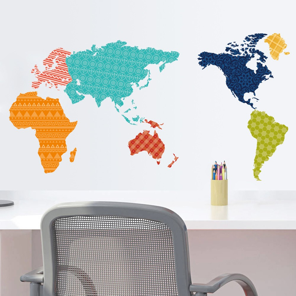 Large colorful world map wall sticker educational map pvc decal large colorful world map wall sticker educational map pvc decal mural art home office decor sales online tomtop gumiabroncs Image collections